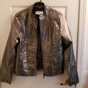 Calvin Klein Metallic Jacket Faux Leather Small